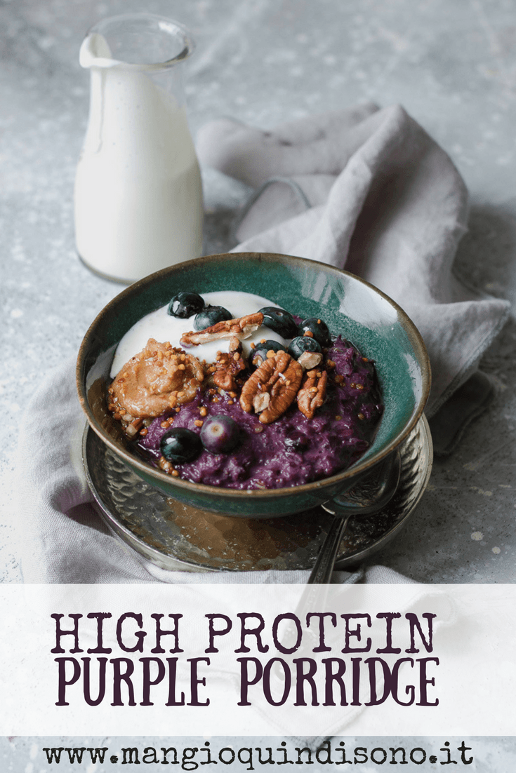 Purple high protein porridge